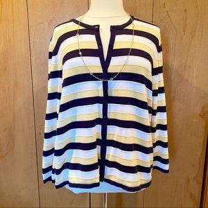 2X CJ Banks striped cardigan- white, yellow, black